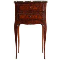 French Small Louis XV Style Serpentine Commode with Marble Top, circa 1820-1830