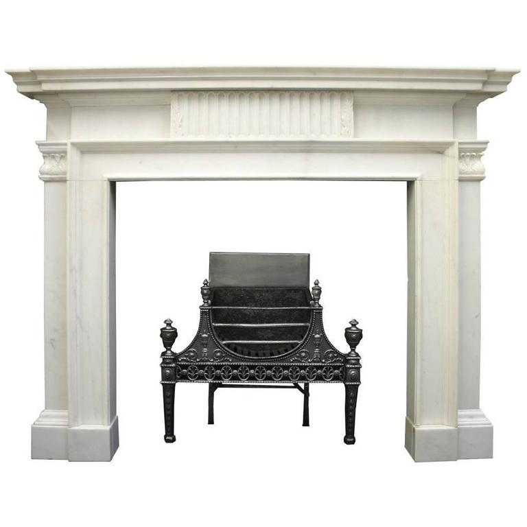 Large 18th Century Statuary Marble Chimneypiece