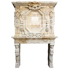 Limestone Fireplace Carved During the Reign of Louis XIV, 17th Century