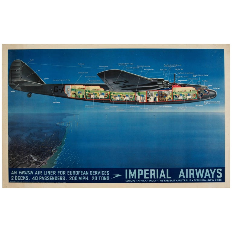 Original Vintage Imperial Airways Ensign Air Liner Travel Poster Europe Services For Sale