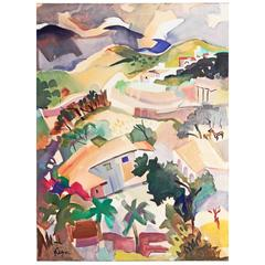 """""""Taxco Ranch,"""" Vividly Hued Mid-Century Painting of Mexican Landscape"""