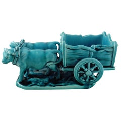 Majolica Turquoise Oxen Cart Clement Massier, circa 1900