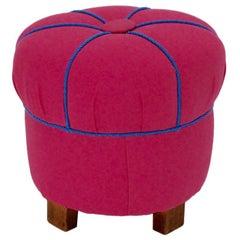 Art Deco Pink Textile Beech Vintage Stool 1930s Austria