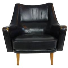 Black Leather Lounge Chair by Ib Kofod-Larsen