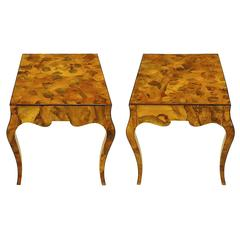 Pair of Italian Oyster Burl Cabriole Leg End Tables