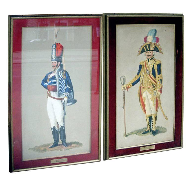 Set of Seven Royal Officer\'s Portraits Oil on Canvas For Sale