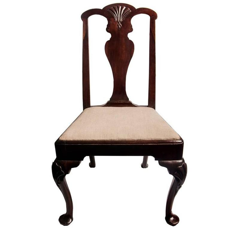 Early King George II Irish Mahogany Side Chair Exaggerated Pad Feet 18th Century 1