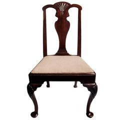 Early King George II Irish Mahogany Side Chair Exaggerated Pad Feet 18th Century