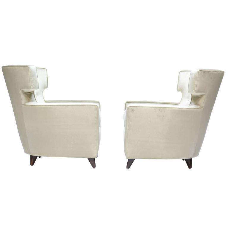 Magnificent Wingback Club Chairs in the Manner of Gio Ponti For Sale