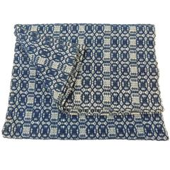 Antique Double Weave Americana Blue and White Coverlet