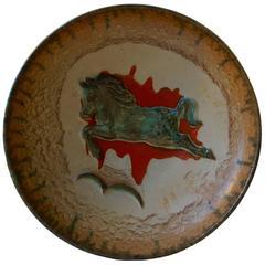 Unusual Mid-Century Stoneware Centrepiece 'Horse' Bowl by John Anderson Hoganas