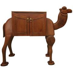 Rare Vintage Hand-Carved Turkish Camel Liquor Cabinet Bar