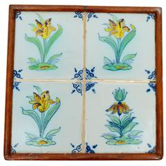 18th Century Dutch Delft Tile Plaque or Trivet Depicting Tulips