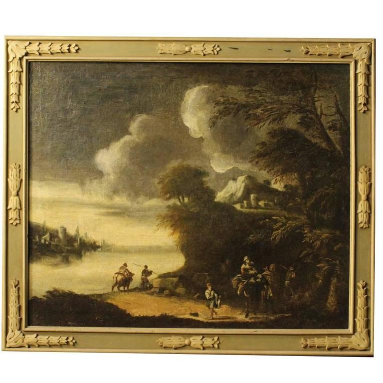 18th Century Italian Painting Landscape With Characters Oil On Canvas