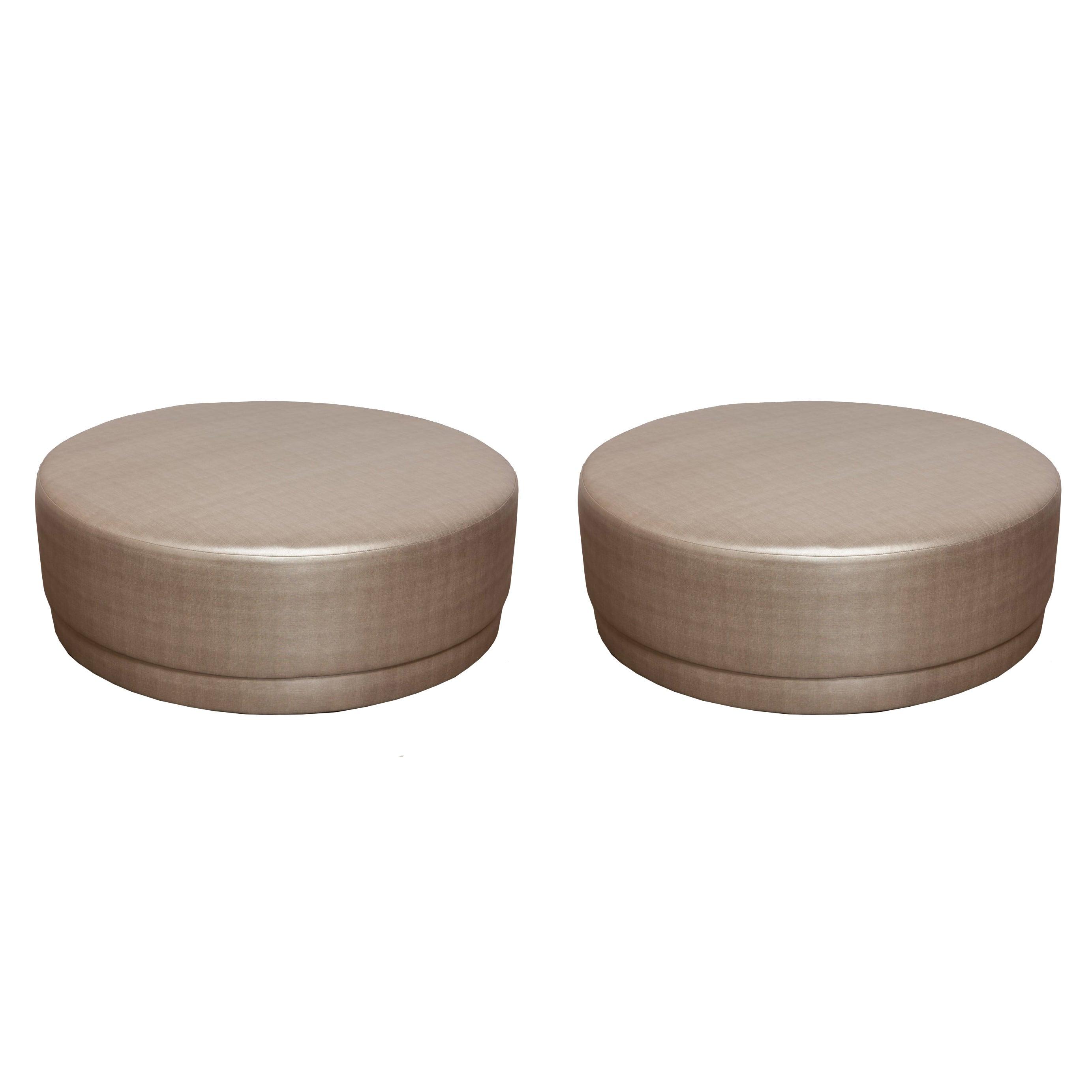 Pair of Metallic Silver Round Ottomans