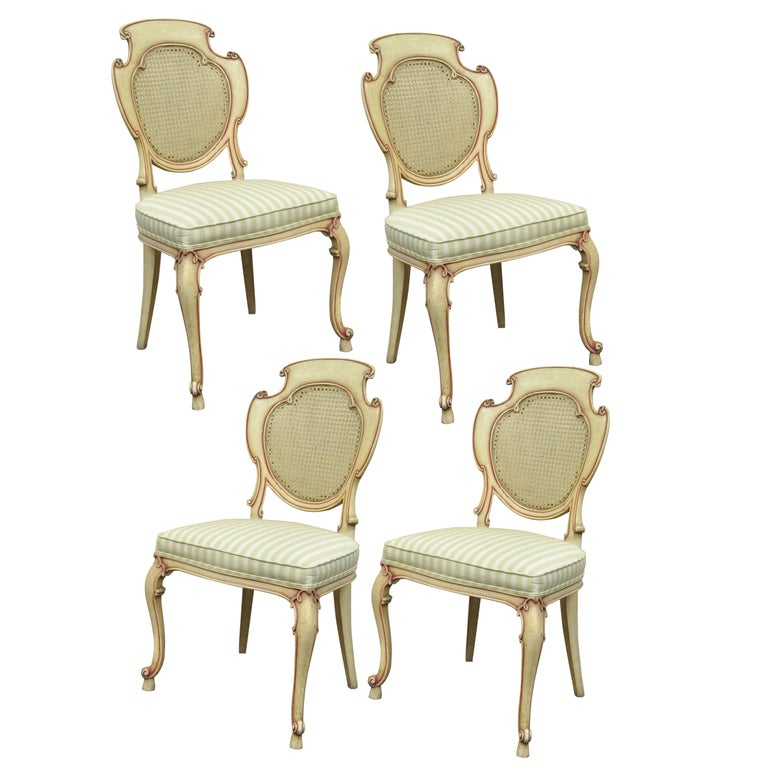 Four Scroll Carved Italian Hollywood Regency Cream Pink Cane Back Dining Chairs For Sale