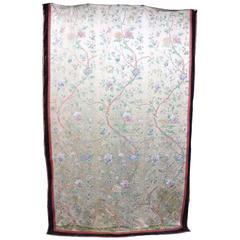 Rare Antique Chinese Silk Tapestry W/Ming Tree Pattern, circa 1870