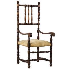 Louis XIII Style Doll's Walnut Open Armchair Furniture France