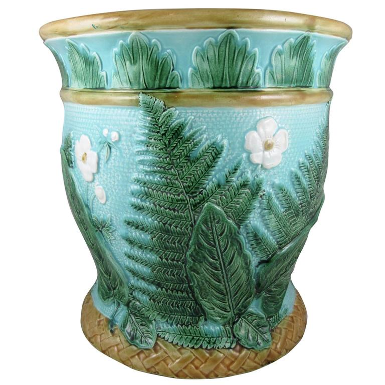 John Adams & Co Fern Leaf & Floral Turquoise English Majolica Jardinière c.1871 For Sale
