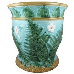 John Adams & Co Fern Leaf & Floral Turquoise English Majolica Jardinière c.1871