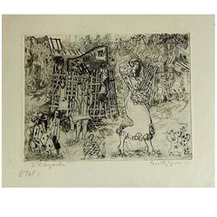 "British Printmaker Anthony Gross Etching, 1930, ""L'elegante"""