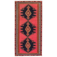 Vintage 1950s Red, Brown Turkish Kilim Rug