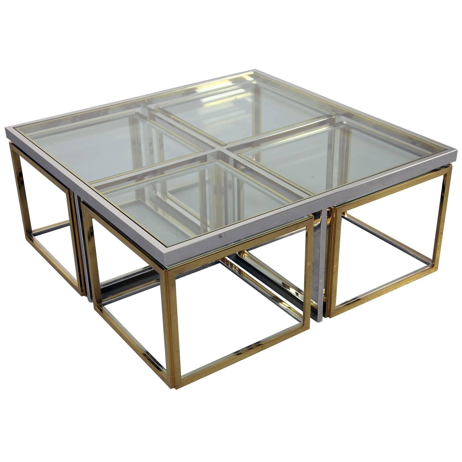 Chrome Coffee Table with Four Brass Nesting Tables by Maison
