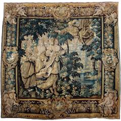 Pair Of Monumental 18th Century Framed Crewel Embroidery