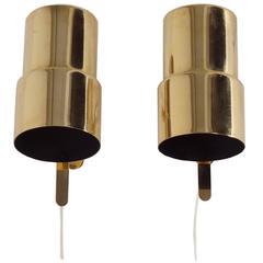 Brass Wall Lamps by Hans Agne Jakobsson for AB Markaryd, Set of Two, 1970s