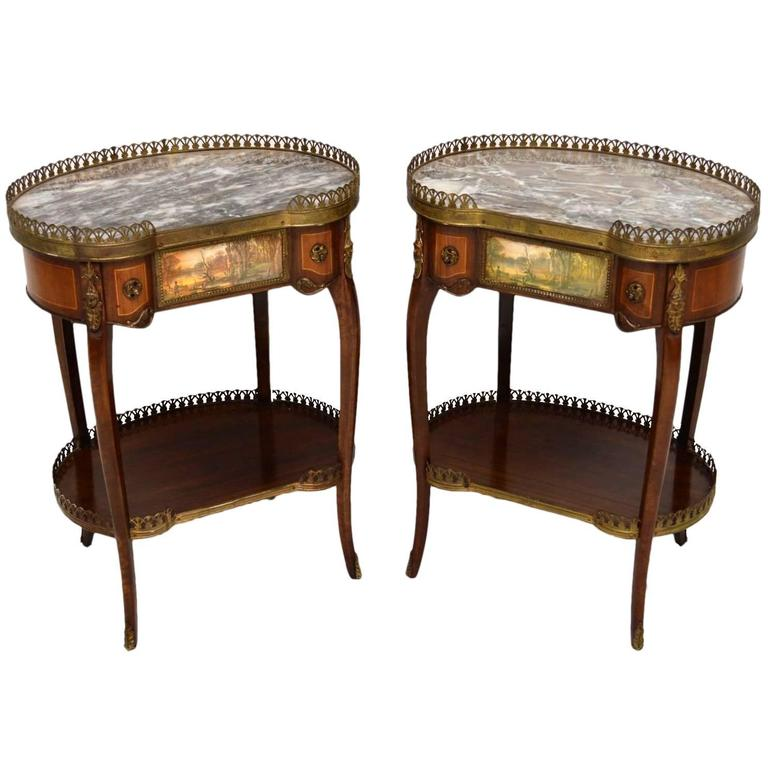 Exceptional Pair Of Antique French Marble Top Side Tables 1