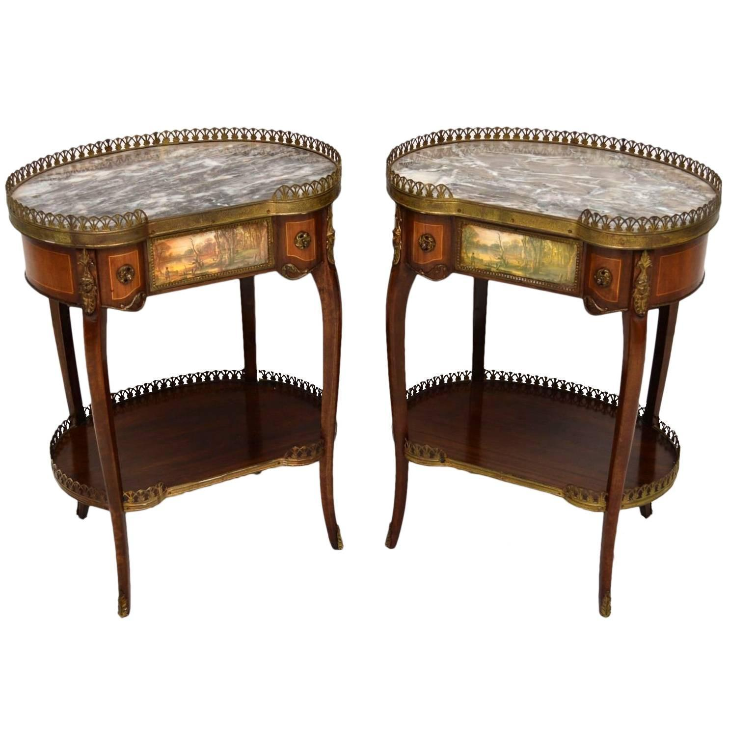 Pair of Antique French Marble Top Side Tables at 1stdibs