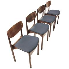 Italian Rosewood and Eco Leather Chairs, Set of Four, 1950s