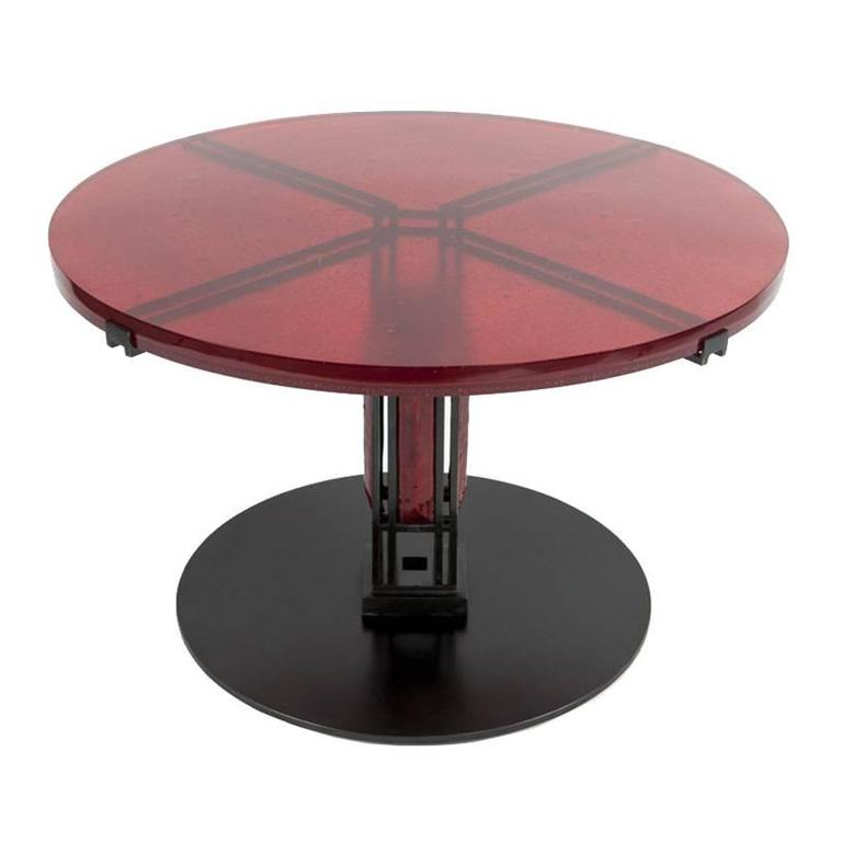 Red Enamel and Glass Table by Christophe Côme