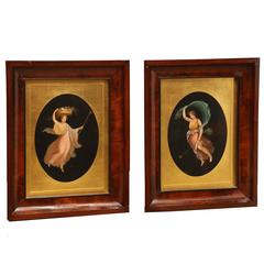 Two 19th Century Hand Colored Engravings of the Dancing Hours