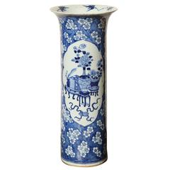 19th Century Japanese Blue and White Cylinder Vase