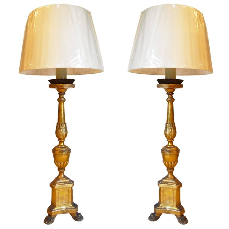 Pair of 19th Century, Italian Giltwood Candlesticks Turned into Lamps For Sale