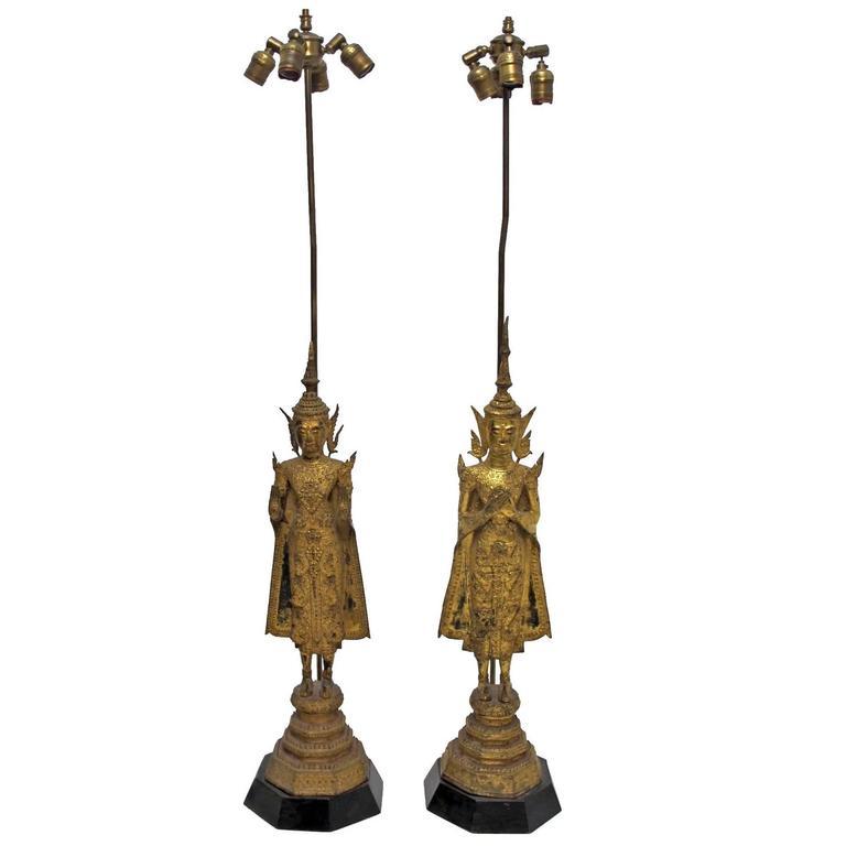 18th Century Thai Deity Gilt Bronze Figural Lamps
