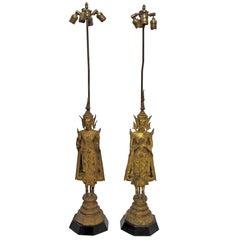 19th Century Thai Deity Gilt Bronze Figural Lamps