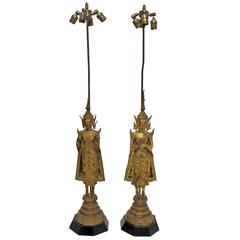 18th Century Thai Deity Gilt Bronze Figural Lamps