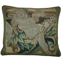 Antique Brussels Tapestry Pillow, circa 1670