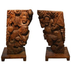 Pair of Chinese 19th Century Hand-Carved Wooden Temple Corbels with Warriors