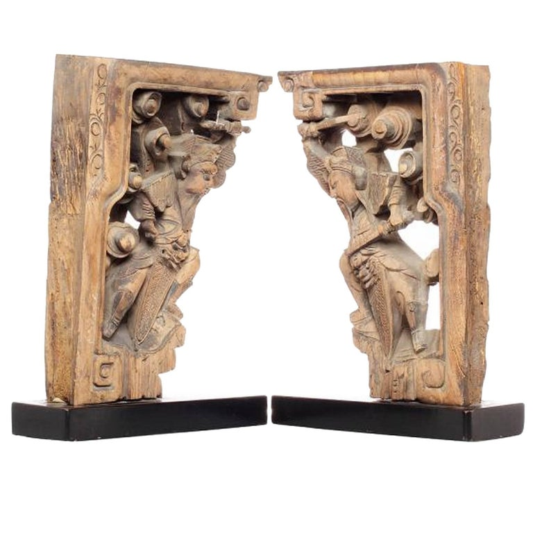 Pair of 18th Century Chinese Hand-Carved Temple Corbels with Characters