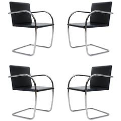 Brno Tubular Thin-Pad Chairs in Black Leather, Set of Four