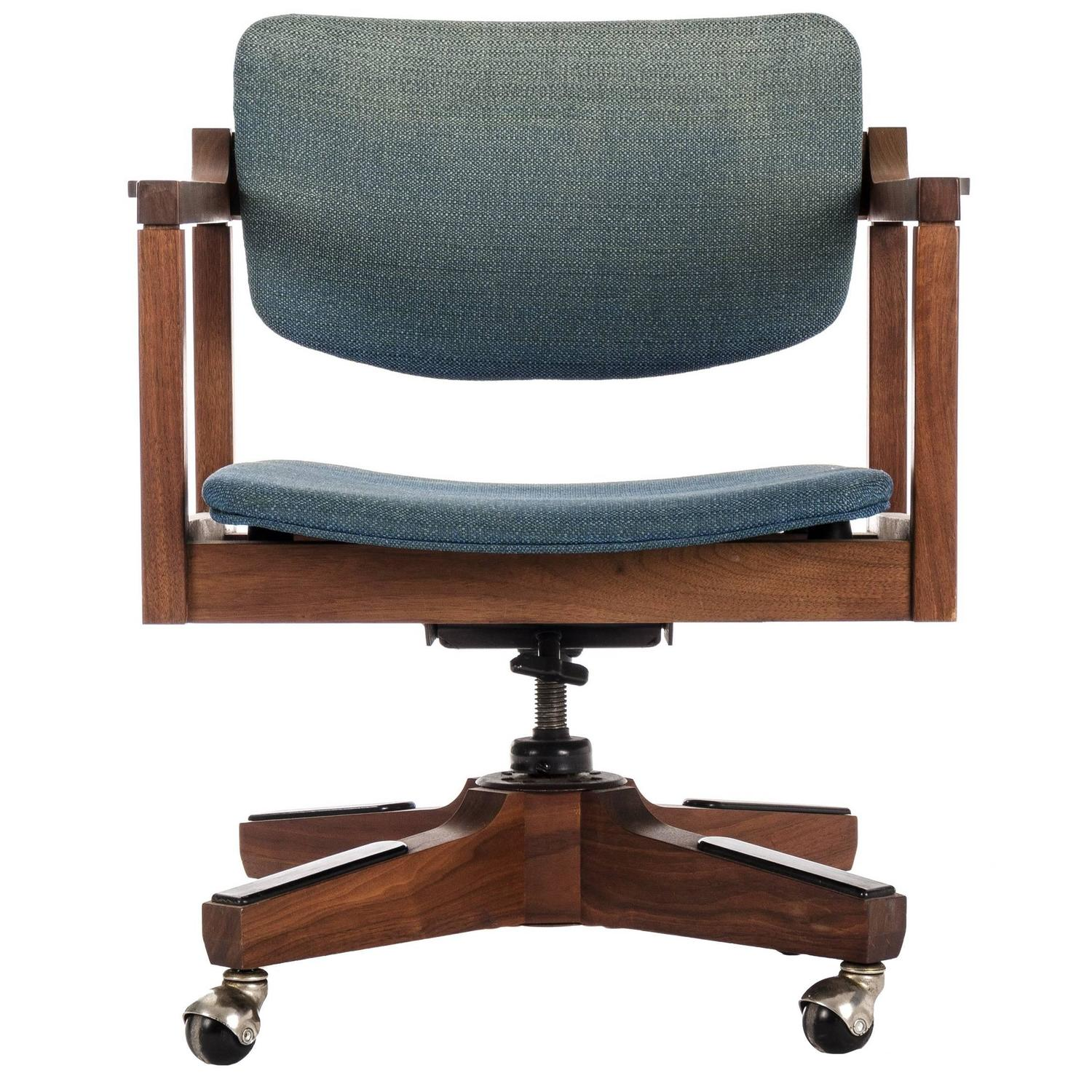 Mid Century Modernist High Back Or Desk Chair W New: Danish Modern Office Chair By Marden For Sale At 1stdibs