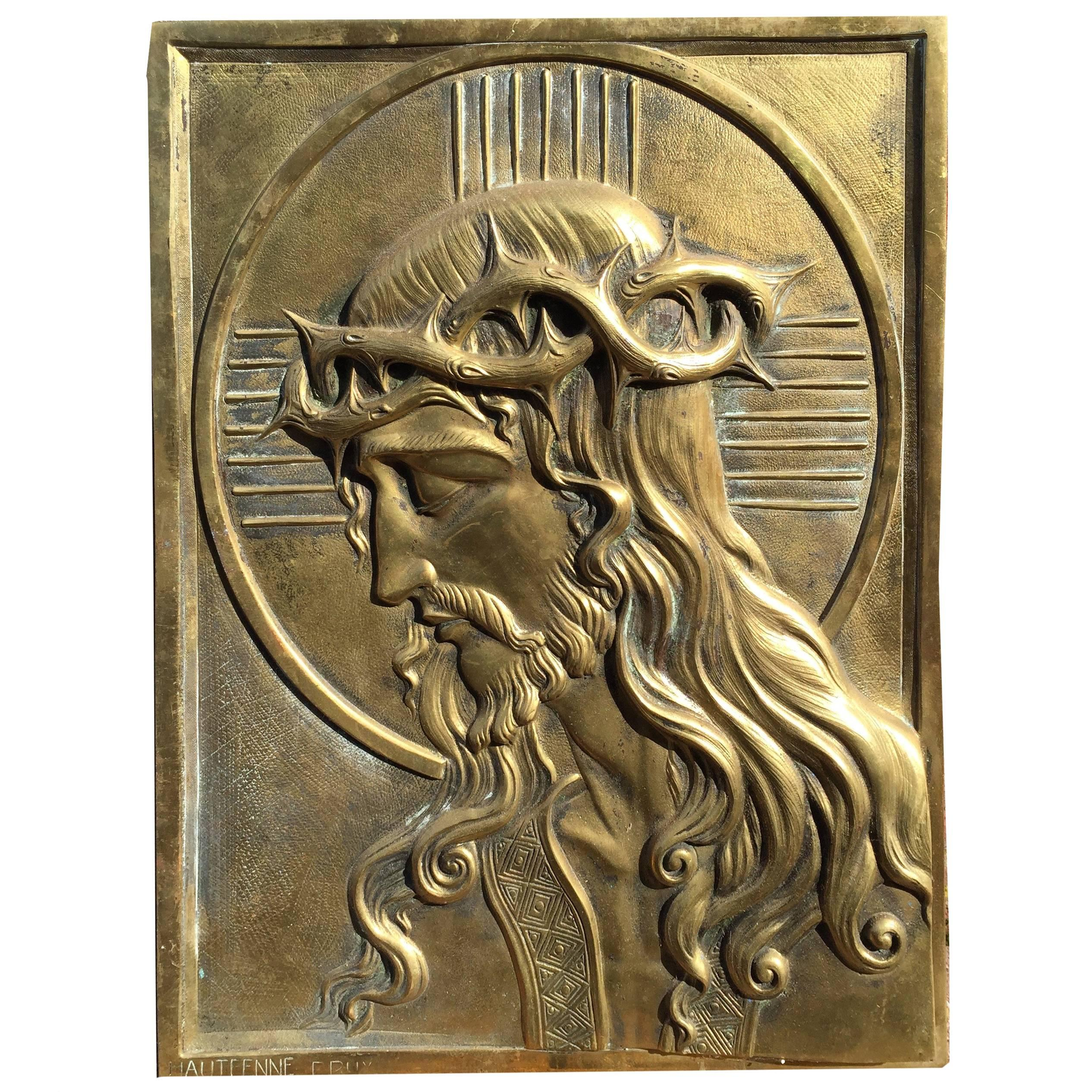 Early 1900 Heavy Art Nouveau Bronze Wall Plaque of Jesus - Christ by Hautfenne