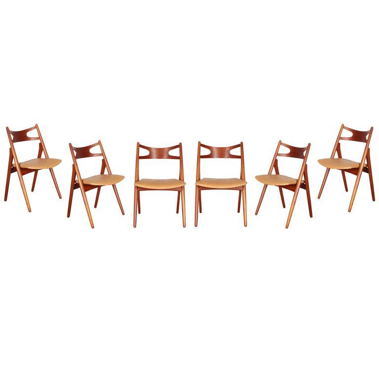 Teak Dining Chairs by Hans Wegner Sawbuck CH29, Set of Six 1