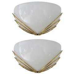 Pair of Italian Art Deco Murano Glass Sconces