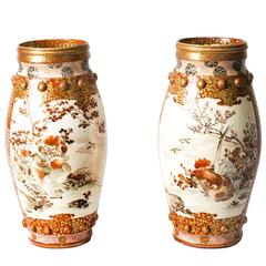Antique Pair Large Japanese Kutani Porcelain Vases, circa 1900