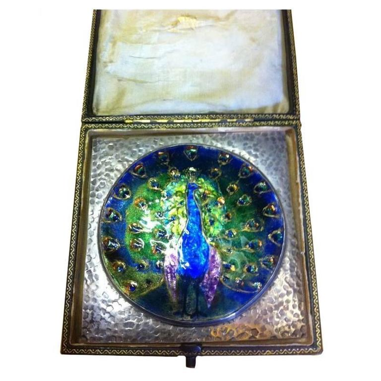 Arts and Crafts Peacock Enamel Mounted in a Silver Frame Attributed C R Ashbee