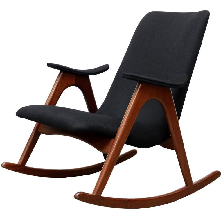 dutch midcentury rocking chair by louis van teeffelen for wb 1960s 1